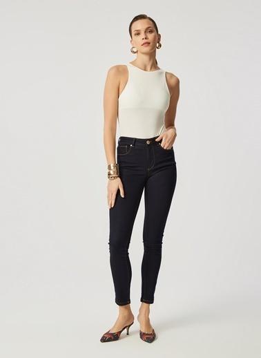 Monamoda Kontrast Dikişli Yüksek Bel Likralı Pantolon Lacivert